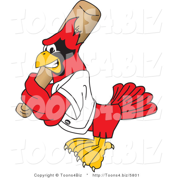 Vector Illustration of a Cartoon Cardinal Mascot Batting