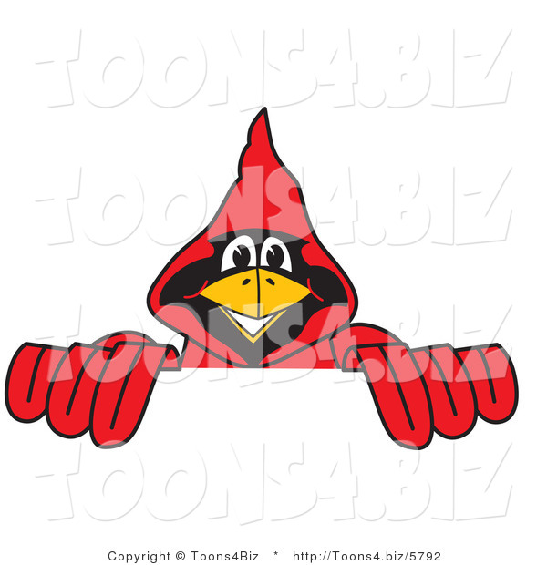 Vector Illustration of a Cartoon Cardinal Mascot Behind a Blank Sign