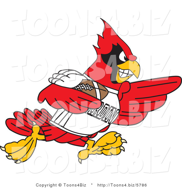 Vector Illustration of a Cartoon Cardinal Mascot Playing American Football