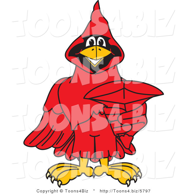 Vector Illustration of a Cartoon Cardinal Mascot Pointing Outwards