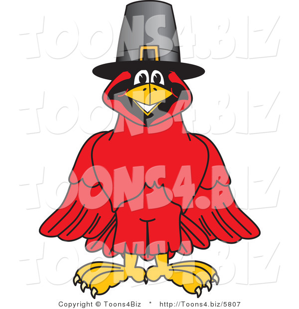 Vector Illustration of a Cartoon Cardinal Mascot Wearing a Pilgrim Hat
