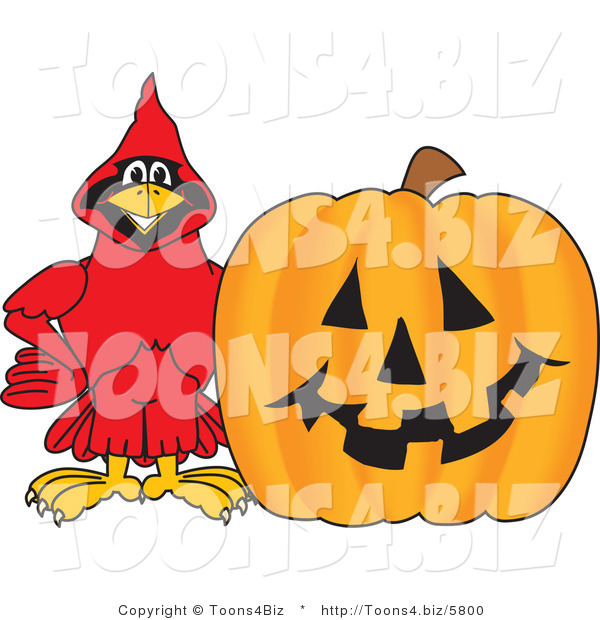 Vector Illustration of a Cartoon Cardinal Mascot with a Halloween Pumpkin