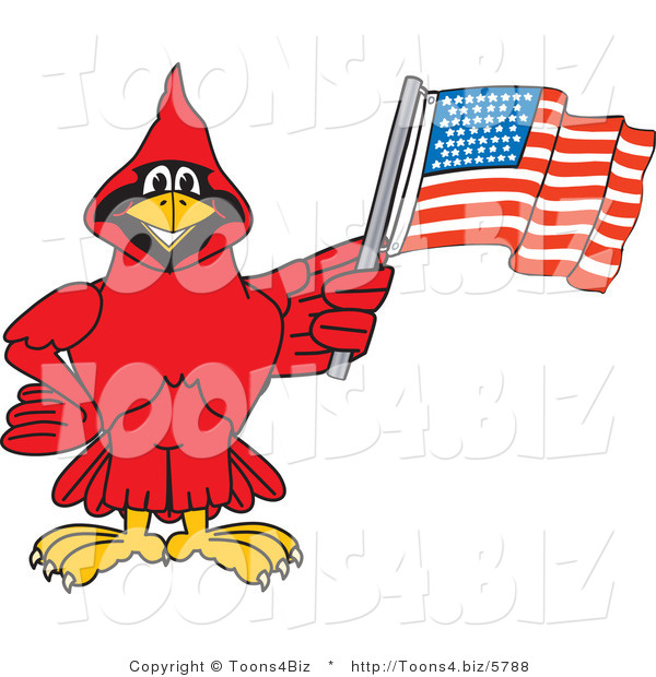 Vector Illustration of a Cartoon Cardinal Mascot with an American Flag