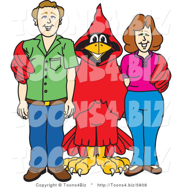 Vector Illustration of a Cartoon Cardinal Mascot with Teachers or Parents