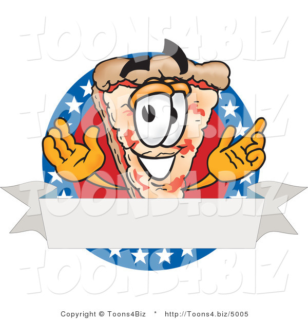 Vector Illustration of a Cartoon Cheese Pizza Mascot over a Blank White Banner on an American Themed Business Logo