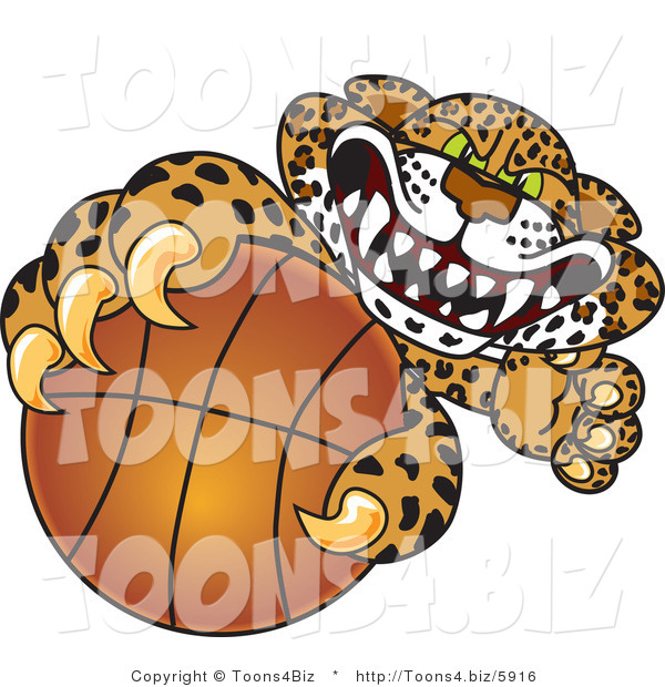 Vector Illustration of a Cartoon Cheetah Mascot Grabbing a Basketball