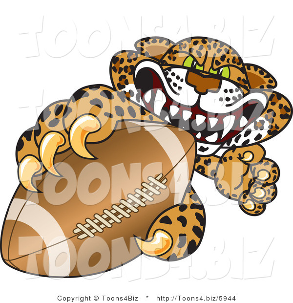 Vector Illustration of a Cartoon Cheetah Mascot Grabbing a Football