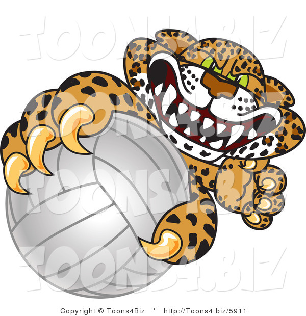 Vector Illustration of a Cartoon Cheetah Mascot Grabbing a Volleyball