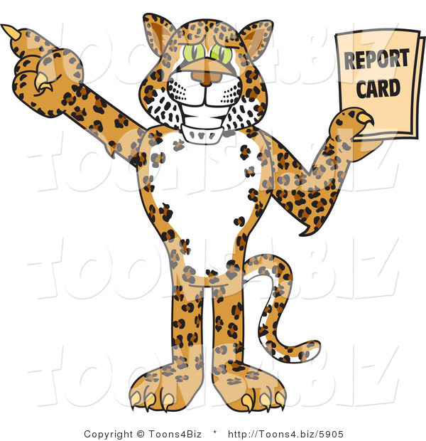 Vector Illustration of a Cartoon Cheetah Mascot Holding a Report Card