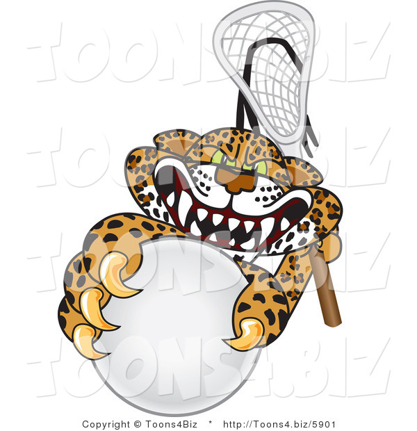 Vector Illustration of a Cartoon Cheetah Mascot Playing Lacrosse