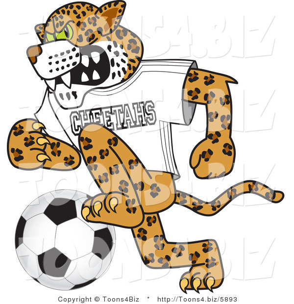 Vector Illustration of a Cartoon Cheetah Mascot Playing Soccer