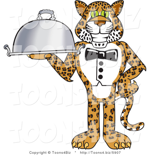 Vector Illustration of a Cartoon Cheetah Mascot Serving a Platter