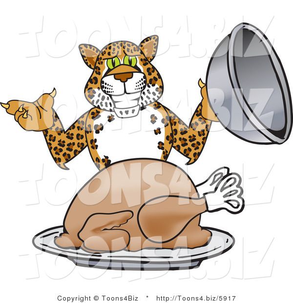 Vector Illustration of a Cartoon Cheetah Mascot Serving a Thanksgiving Turkey