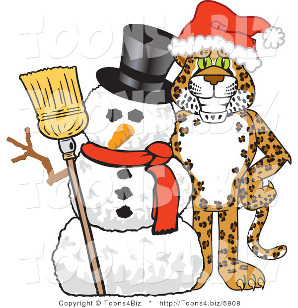 Vector Illustration of a Cartoon Cheetah Mascot with a Snowman