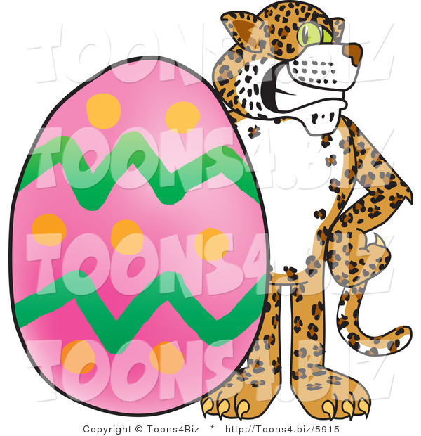 Vector Illustration of a Cartoon Cheetah Mascot with an Easter Egg