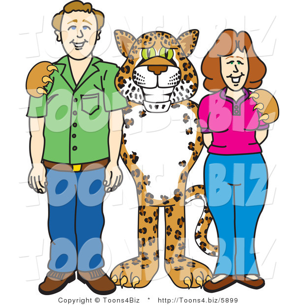 Vector Illustration of a Cartoon Cheetah Mascot with Teachers or Parents