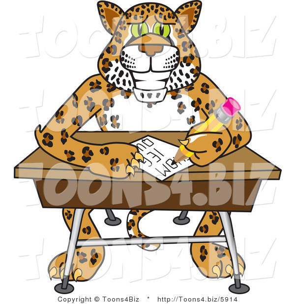 Vector Illustration of a Cartoon Cheetah Mascot Writing in Class