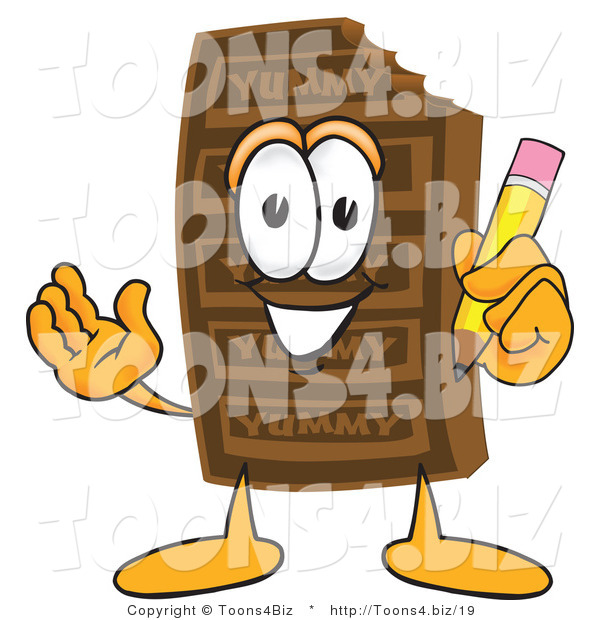 Vector Illustration of a Cartoon Chocolate Mascot Holding a Pencil