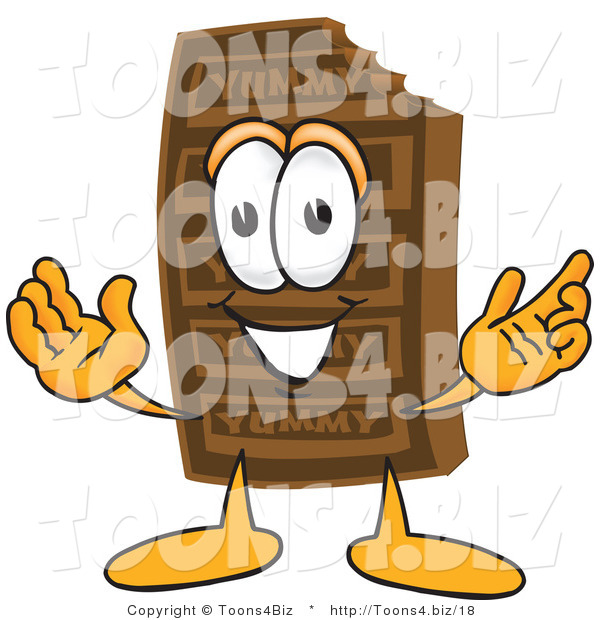 Vector Illustration of a Cartoon Chocolate Mascot with Welcoming Open Arms