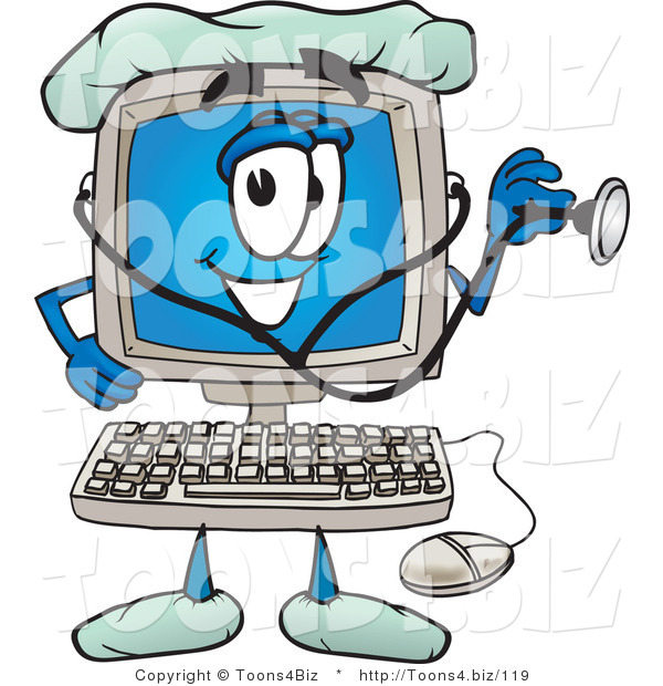 Vector Illustration of a Cartoon Computer Mascot Doctor Holding a Stethoscope