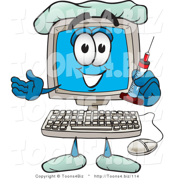 Vector Illustration of a Cartoon Computer Mascot Holding a Syringe