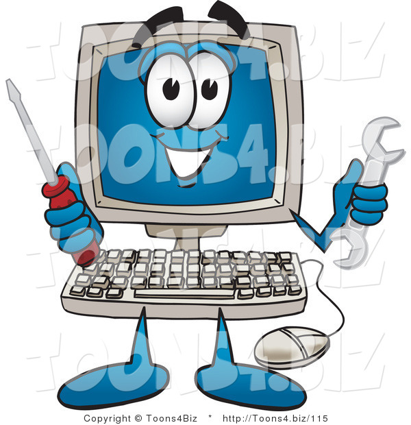 Vector Illustration of a Cartoon Computer Mascot Holding a Wrench and Screwdriver