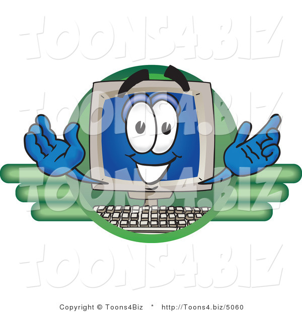 Vector Illustration of a Cartoon Computer Mascot Logo