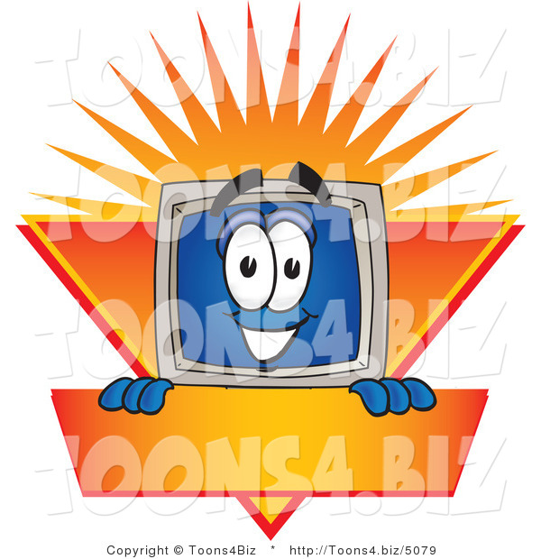 Vector Illustration of a Cartoon Computer Mascot Logo Showing the Monitor Smiling over an Orange and Yellow Banner Against a Sunburst
