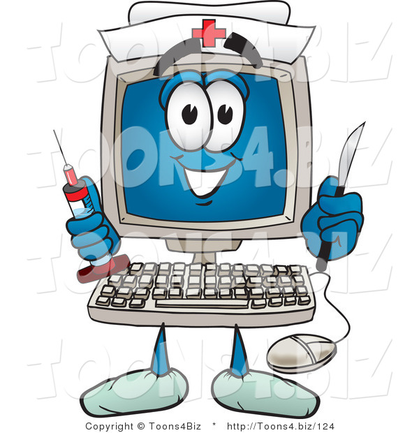 Vector Illustration of a Cartoon Computer Mascot Nurse with a Knife and Syringe