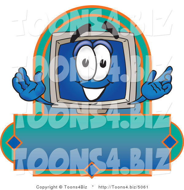 Vector Illustration of a Cartoon Computer Mascot on a Blank Label