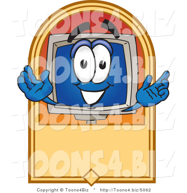 Vector Illustration of a Cartoon Computer Mascot on a Blank Tan Label