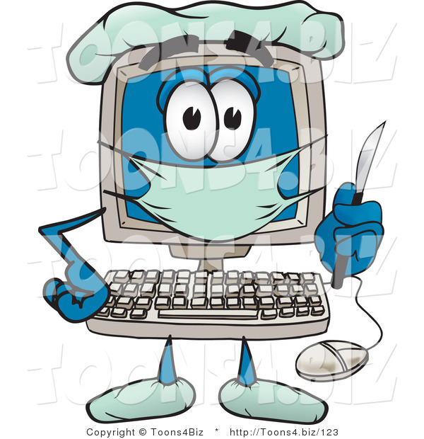 Vector Illustration of a Cartoon Computer Mascot Plastic Surgeon with a Knife