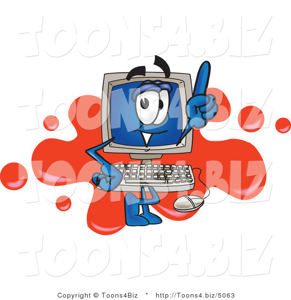 Vector Illustration of a Cartoon Computer Mascot Standing in Front of a Red Paint Splatter on a Logo