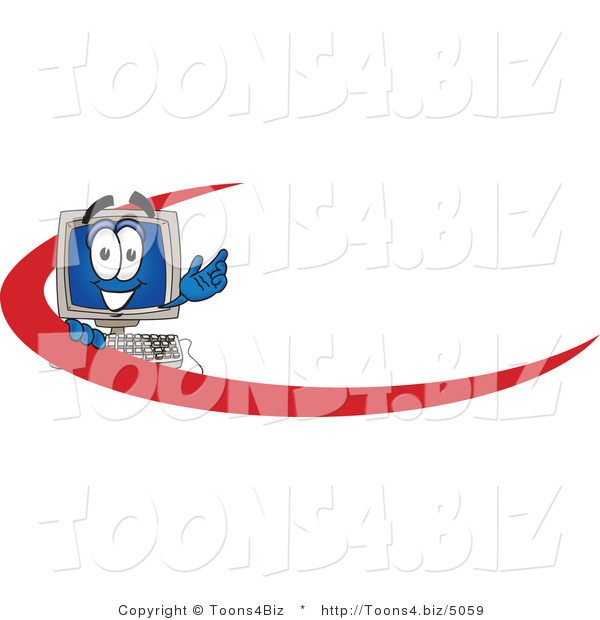 Vector Illustration of a Cartoon Computer Mascot with a Red Dash on an Employee Nametag or Business Logo