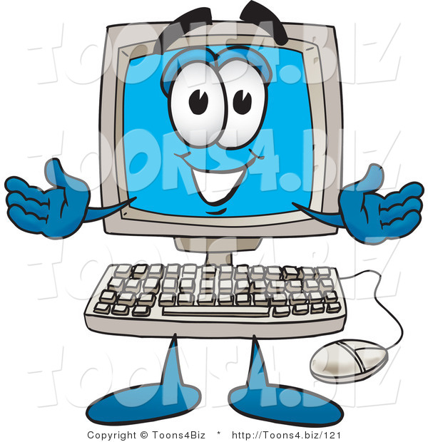 Vector Illustration of a Cartoon Computer Mascot with Welcoming Open Arms