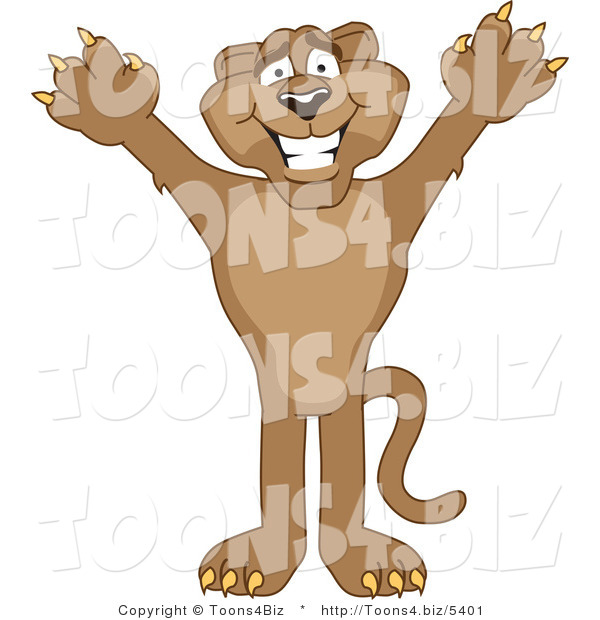 Vector Illustration of a Cartoon Cougar Mascot Character Holding His Arms up