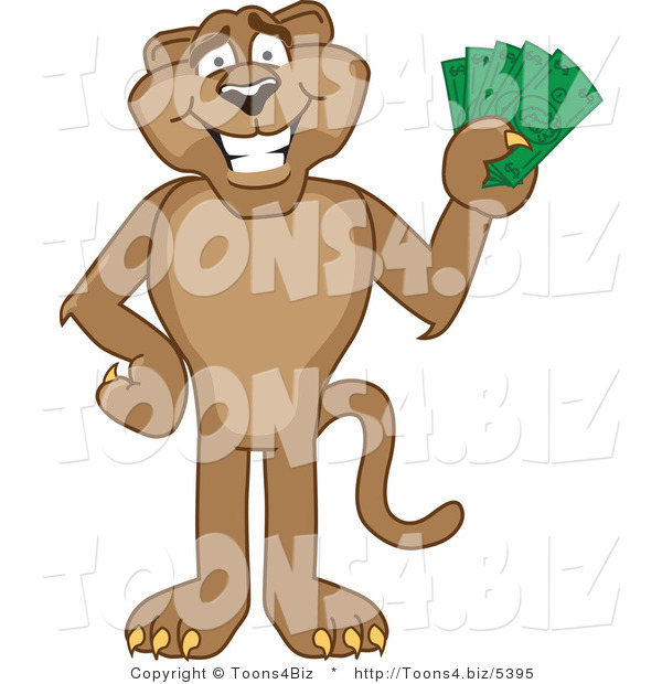 Vector Illustration of a Cartoon Cougar Mascot Character Holding Money