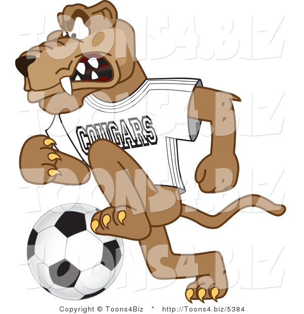 Vector Illustration of a Cartoon Cougar Mascot Character Playing Soccer