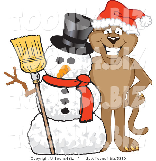 Vector Illustration of a Cartoon Cougar Mascot Character with a Snowman