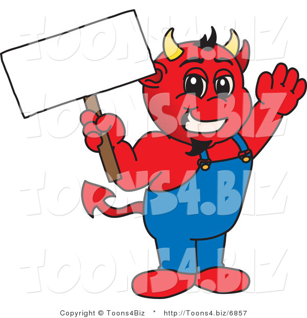Vector Illustration of a Cartoon Devil Mascot Holding a Blank Sign