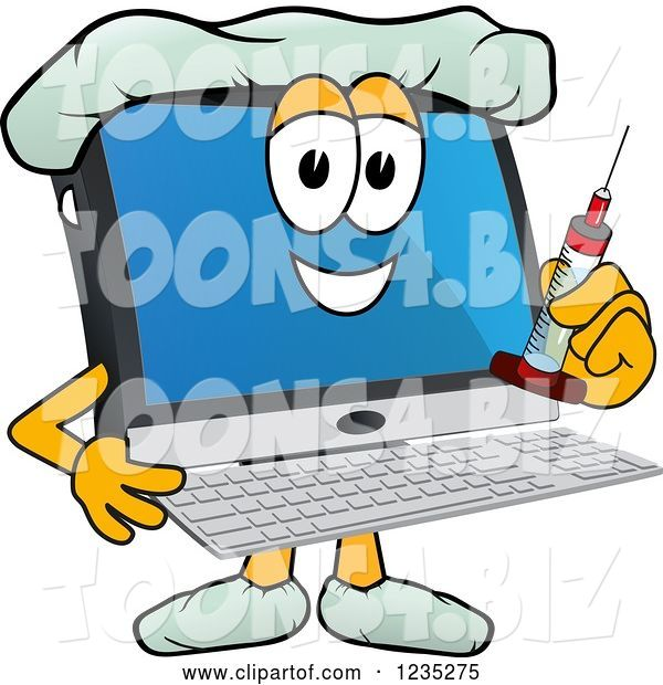 Vector Illustration of a Cartoon Doctor PC Computer Mascot Holding a Vaccine Syringe