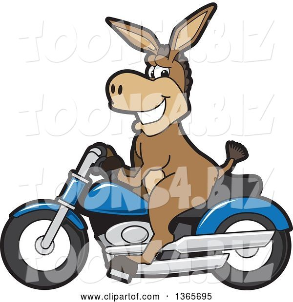 Vector Illustration of a Cartoon Donkey Mascot Character on a Blue Motorcycle
