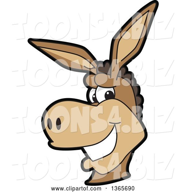 Vector Illustration of a Cartoon Donkey Mascot Character Smiling