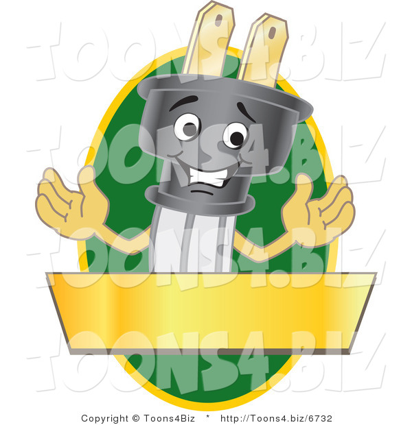Vector Illustration of a Cartoon Electric Plug Mascot Logo with a Green Oval and Gold Banner