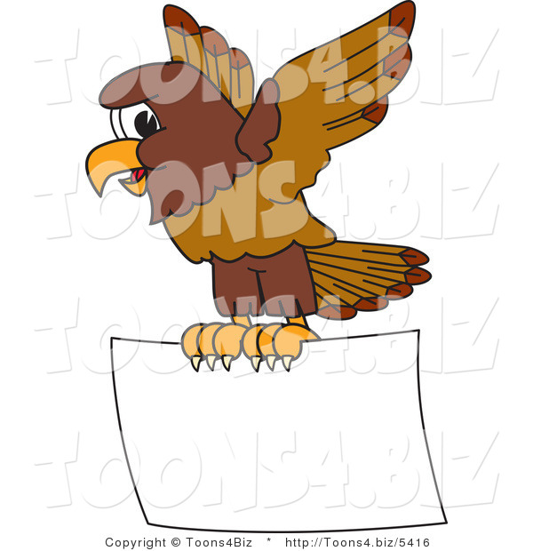 Vector Illustration of a Cartoon Falcon Mascot Character Flying a Blank Sign