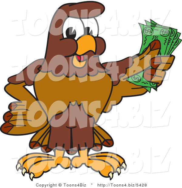 Vector Illustration of a Cartoon Falcon Mascot Character Holding Cash