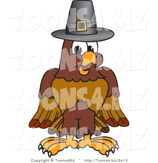 Vector Illustration of a Cartoon Falcon Mascot Character Wearing a Pilgrim Hat