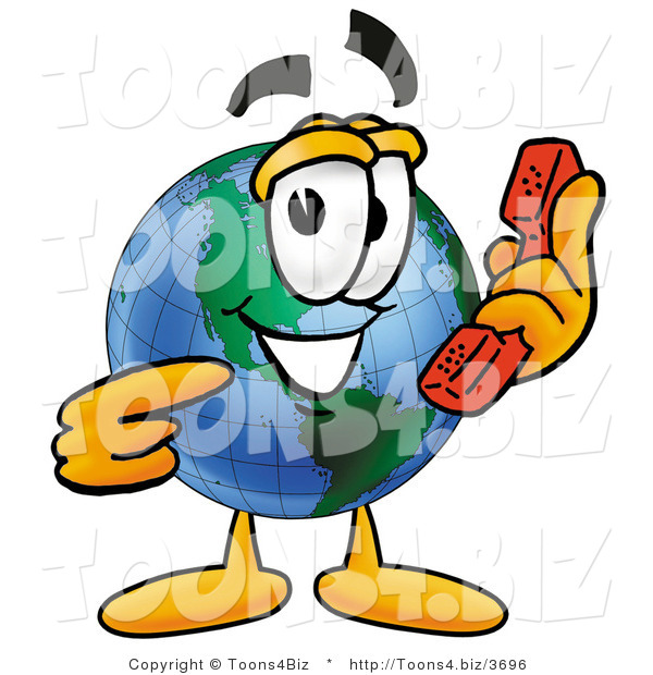 Vector Illustration of a Cartoon Globe Mascot Holding a Telephone