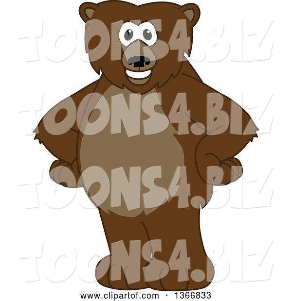 Vector Illustration of a Cartoon Grizzly Bear School Mascot Standing with His Hands on His Hips