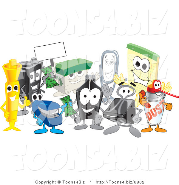 Vector Illustration of a Cartoon Group of Office Supply Mascots